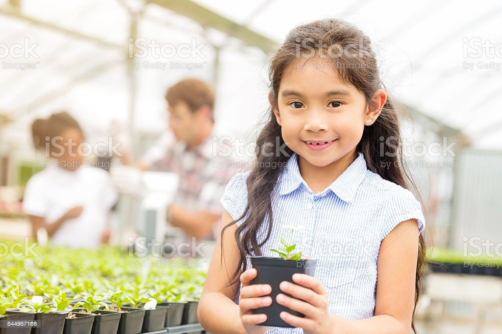 Cute elementary school girl holds plant in nursery stock photo