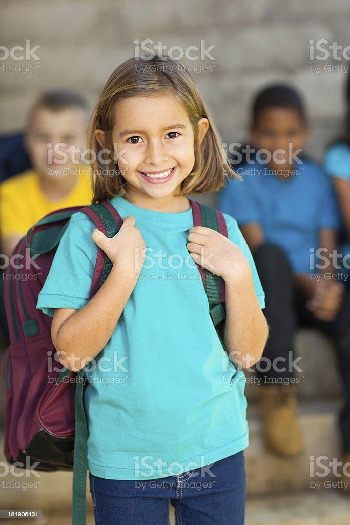 cute elementary schoolgirl stock photo