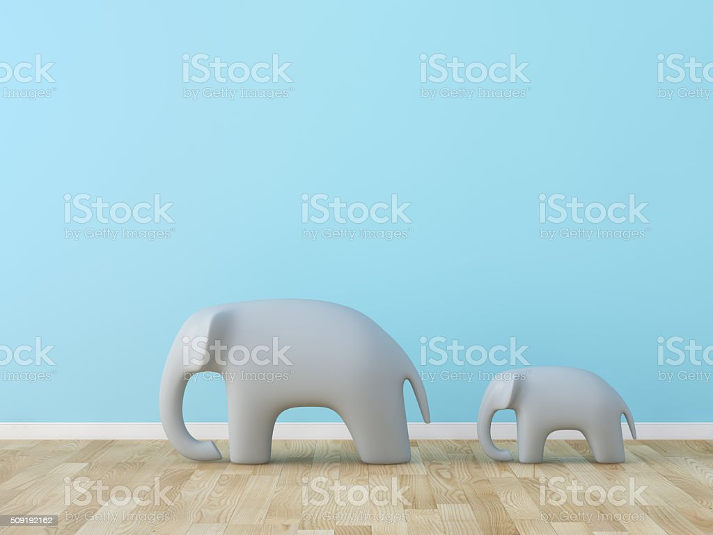 Cute elephant in the room stock photo