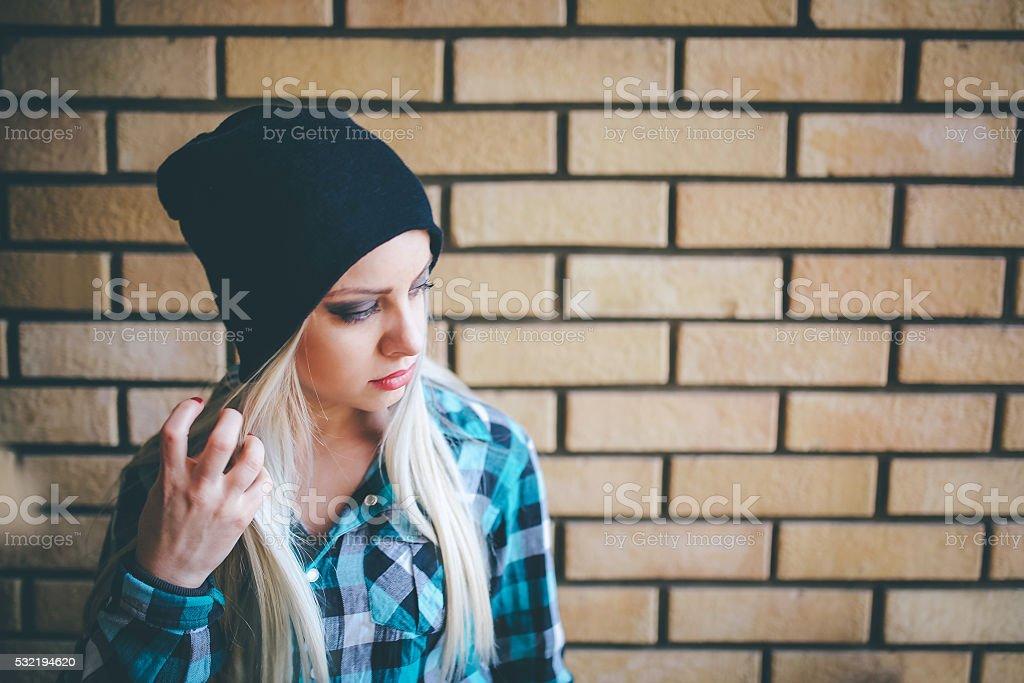 Cute emo girl posing stock photo