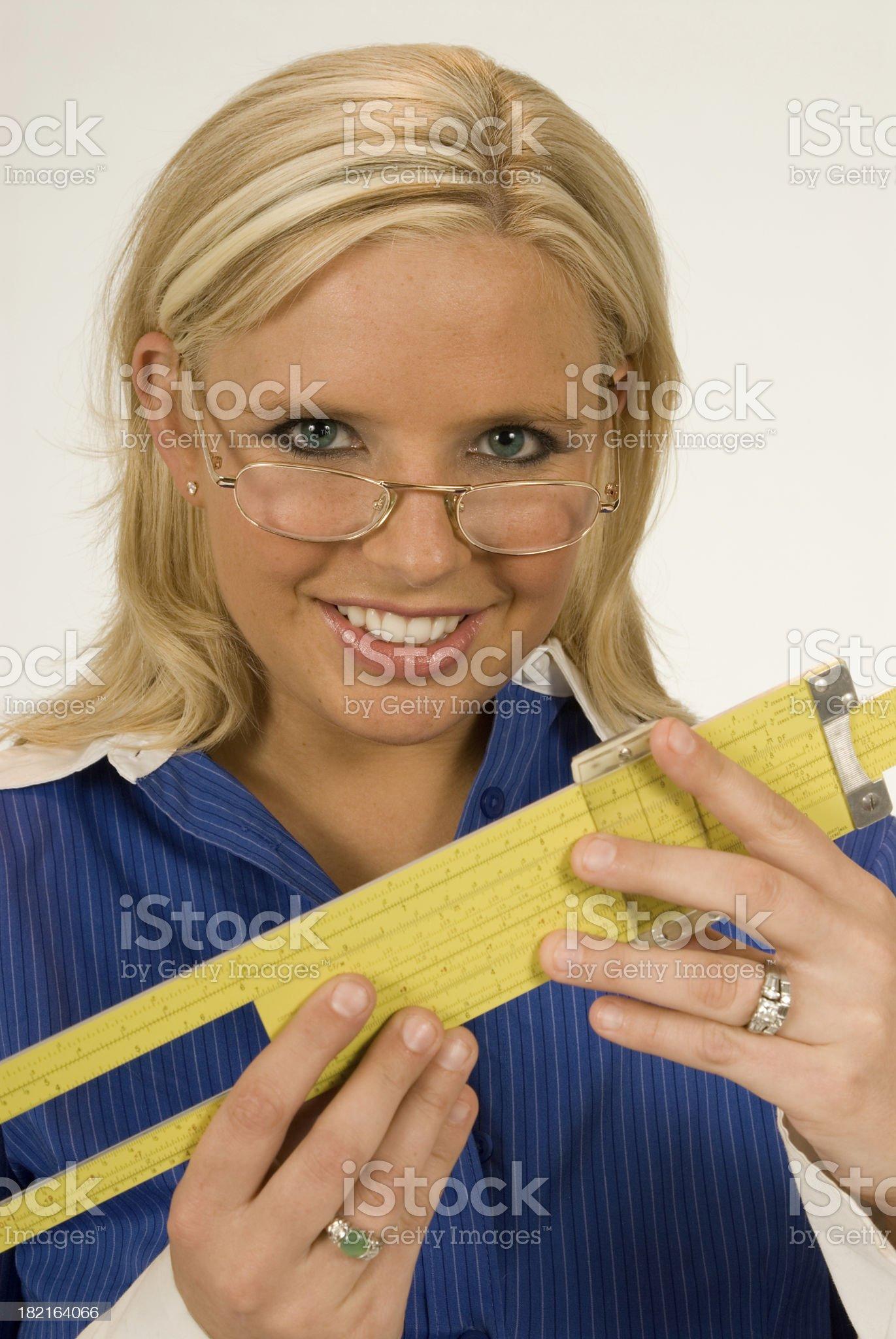 Cute Engineer with Sliderule royalty-free stock photo