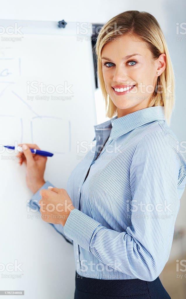 Cute executive giving presentation stock photo