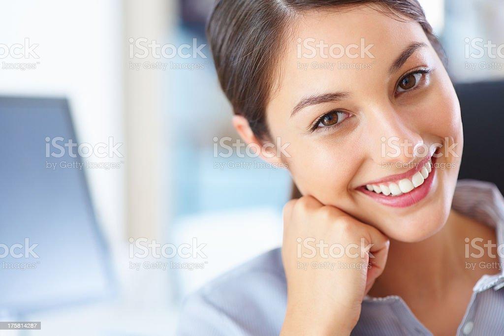 Cute executive smiling stock photo