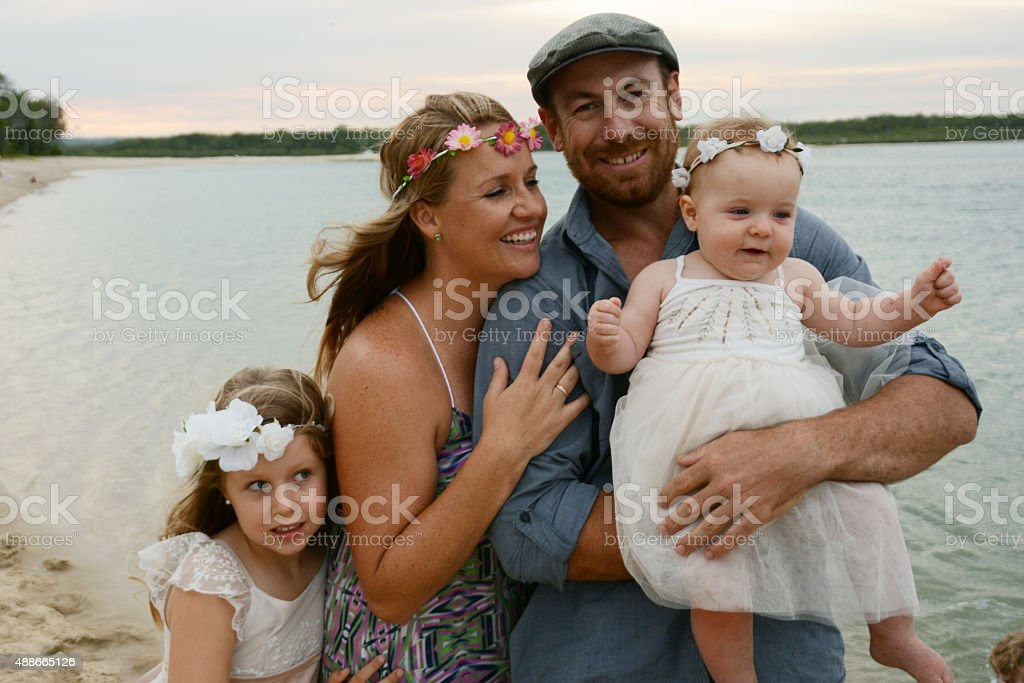 Cute Family at the beach stock photo