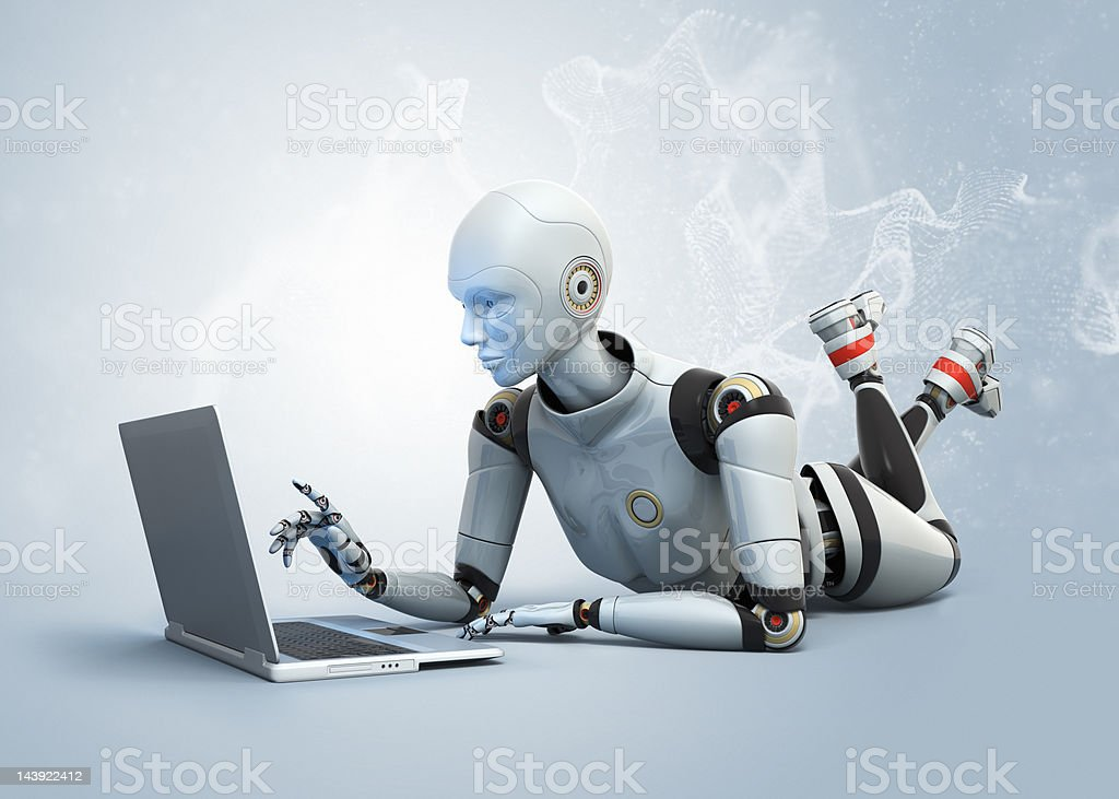 Cute female android and laptop stock photo