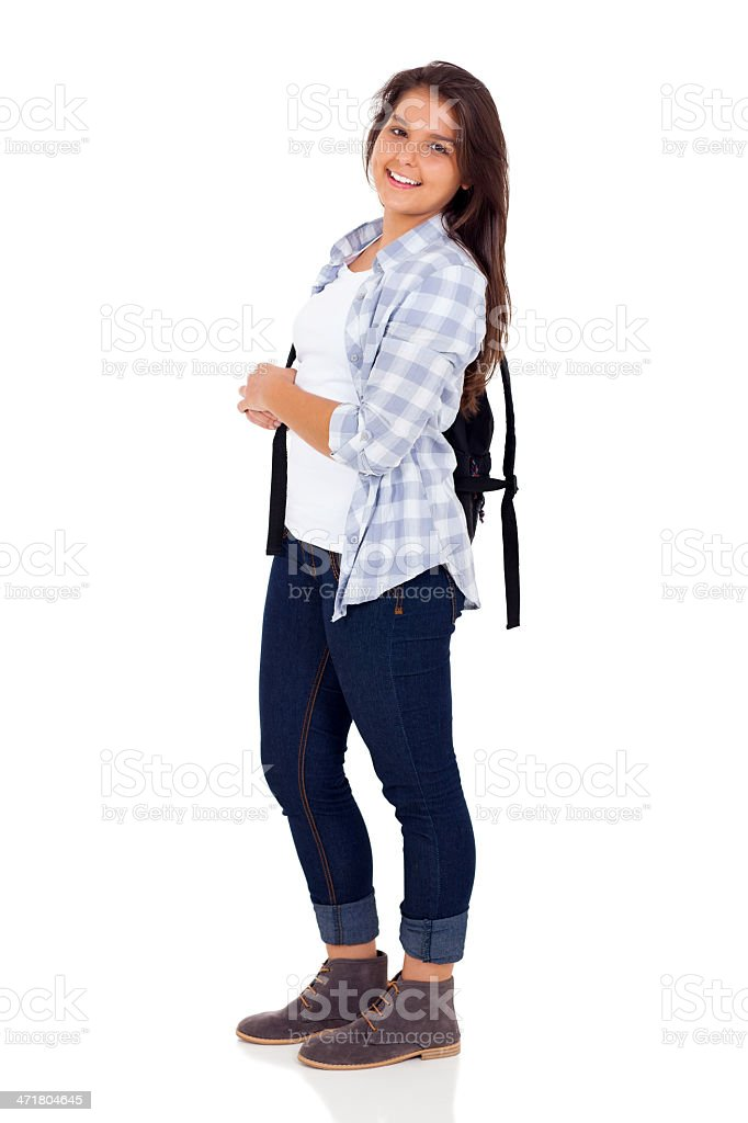 cute female high school student royalty-free stock photo