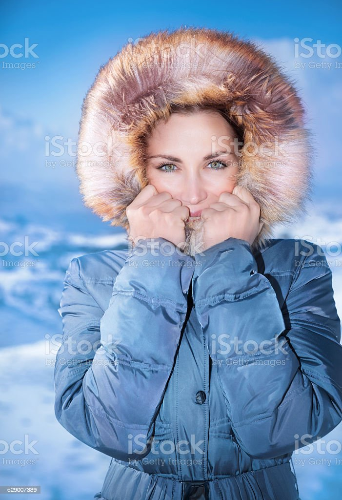 Cute female outdoors in winter stock photo
