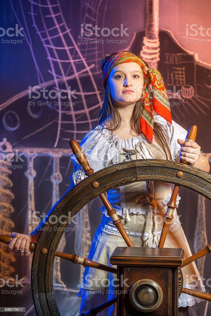 Cute female pirate stock photo