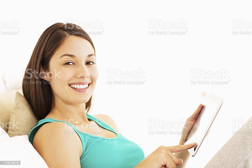 Cute Female Using Digital Tablet royalty-free stock photo