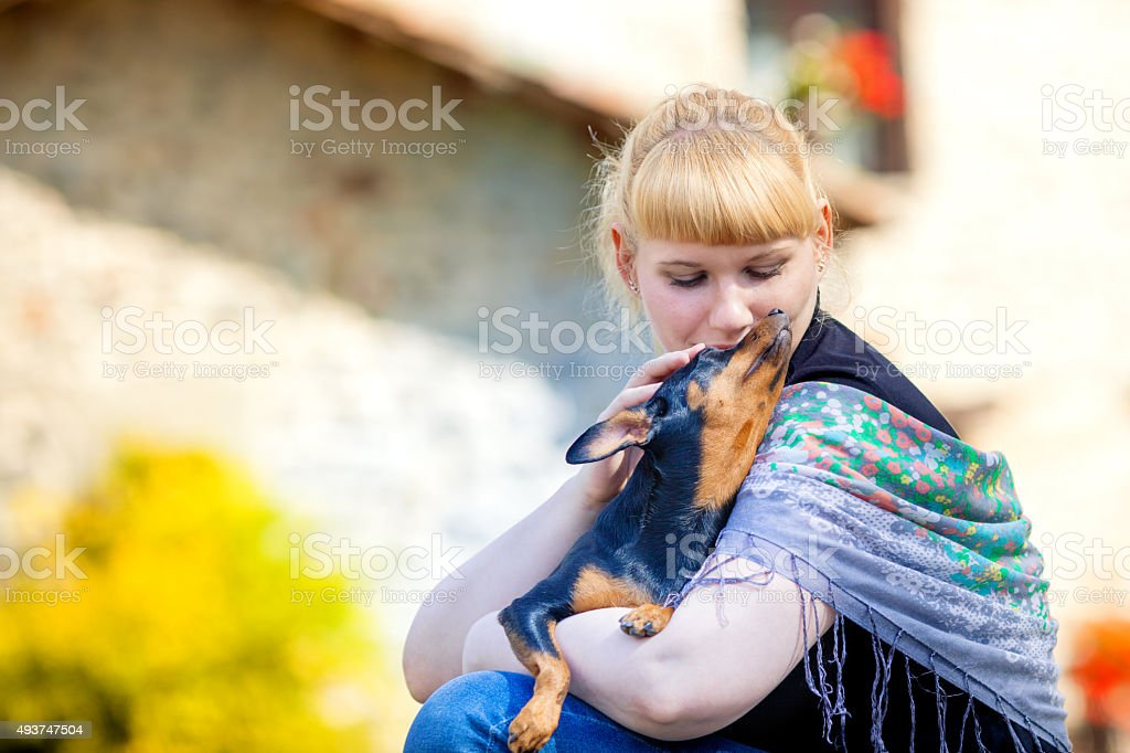 Cute female with dog stock photo
