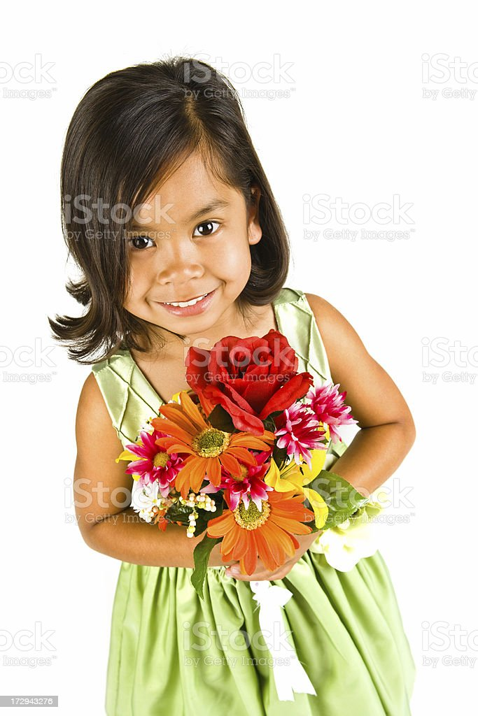 cute flower girl looking up royalty-free stock photo