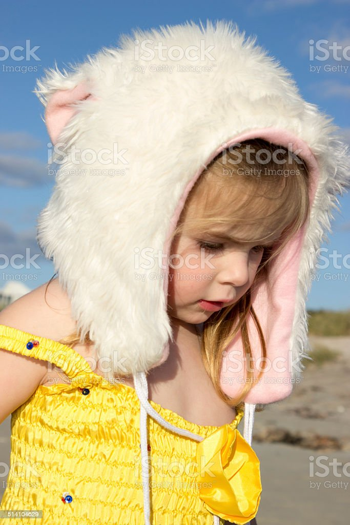 Cute Fluffy Hat Girl stock photo