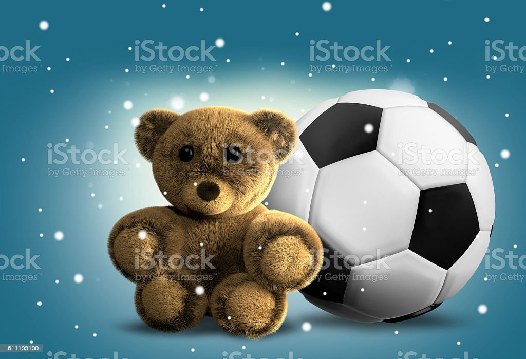 cute fluffy stuffed bear 3d render stock photo