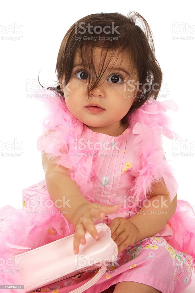 Cute Funny Baby on White Background with Feather Boa royalty-free stock photo