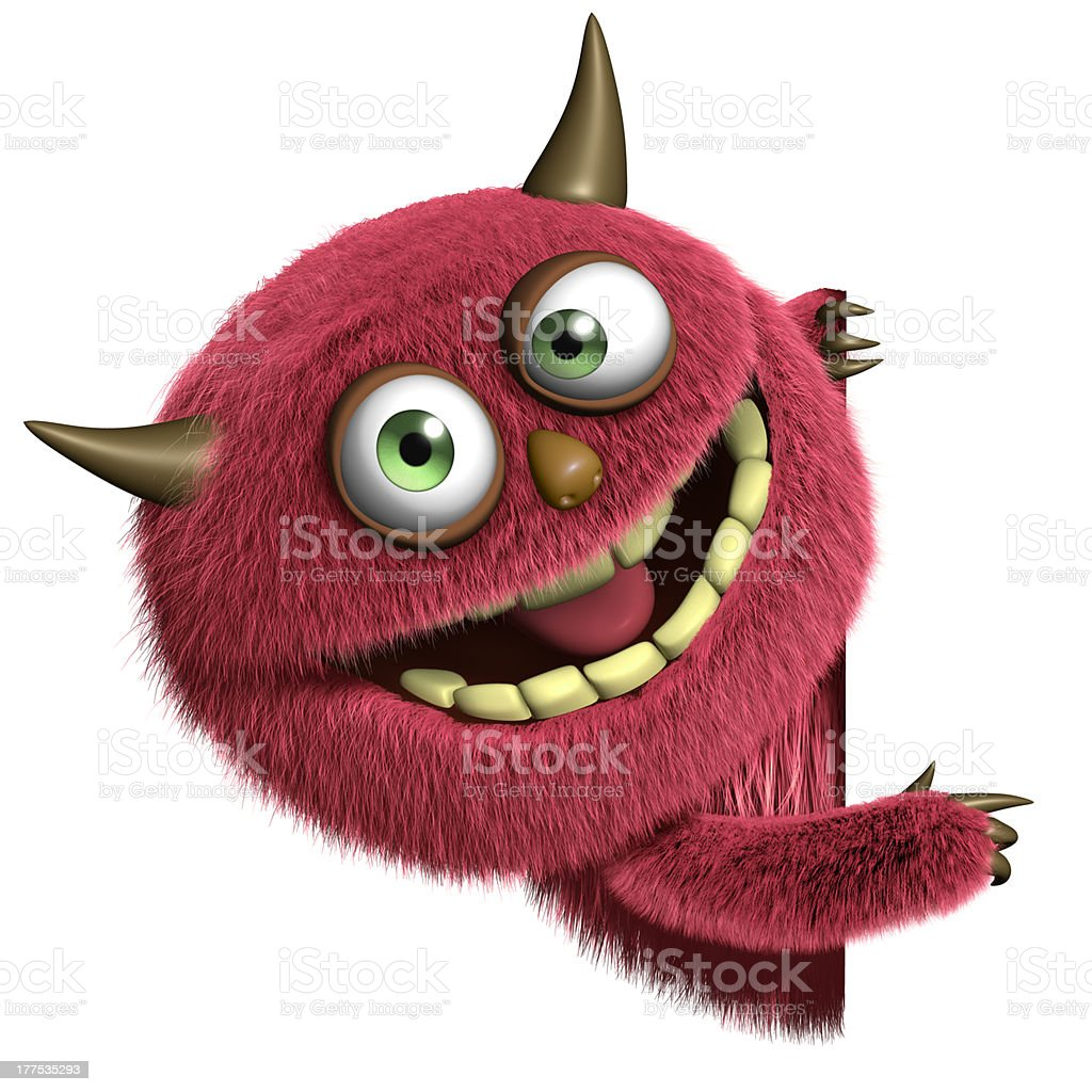 cute furry monster stock photo