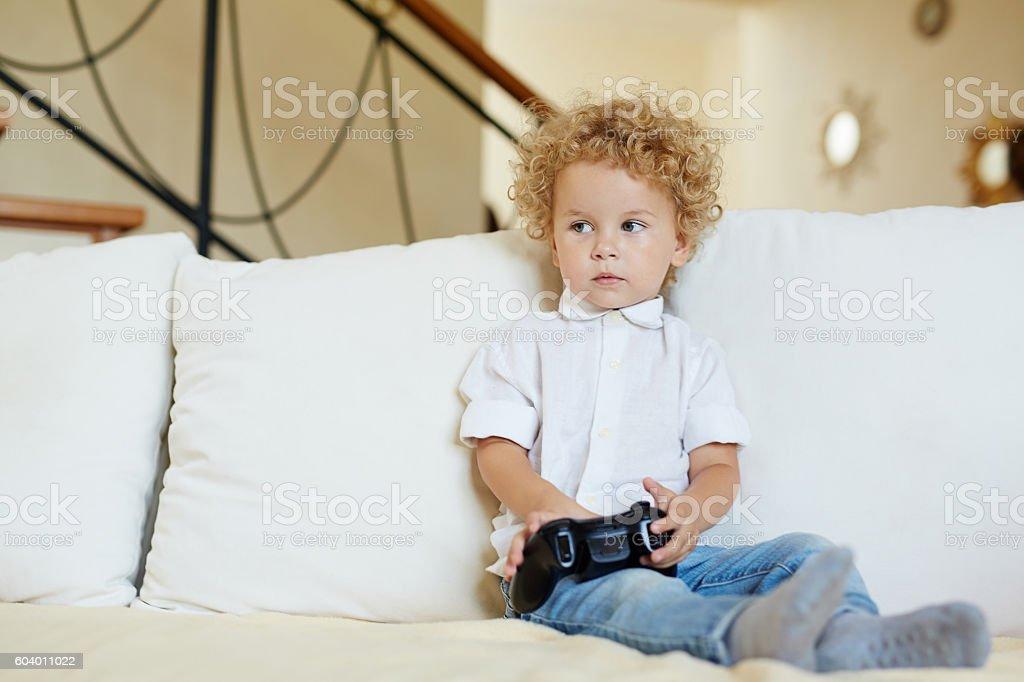 Cute gamer stock photo