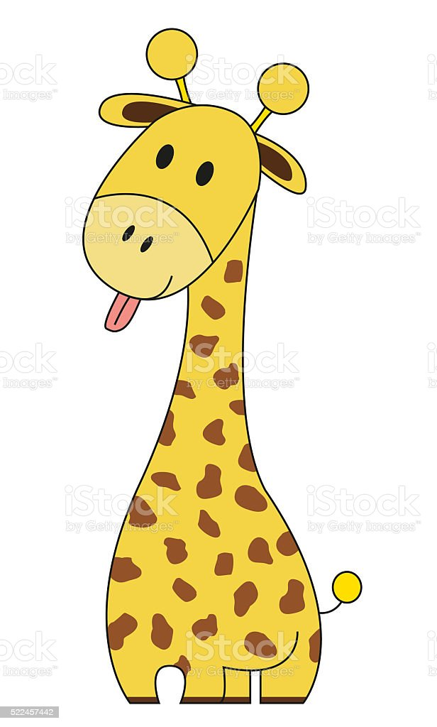 Cute giraffe with stick out tongue stock photo