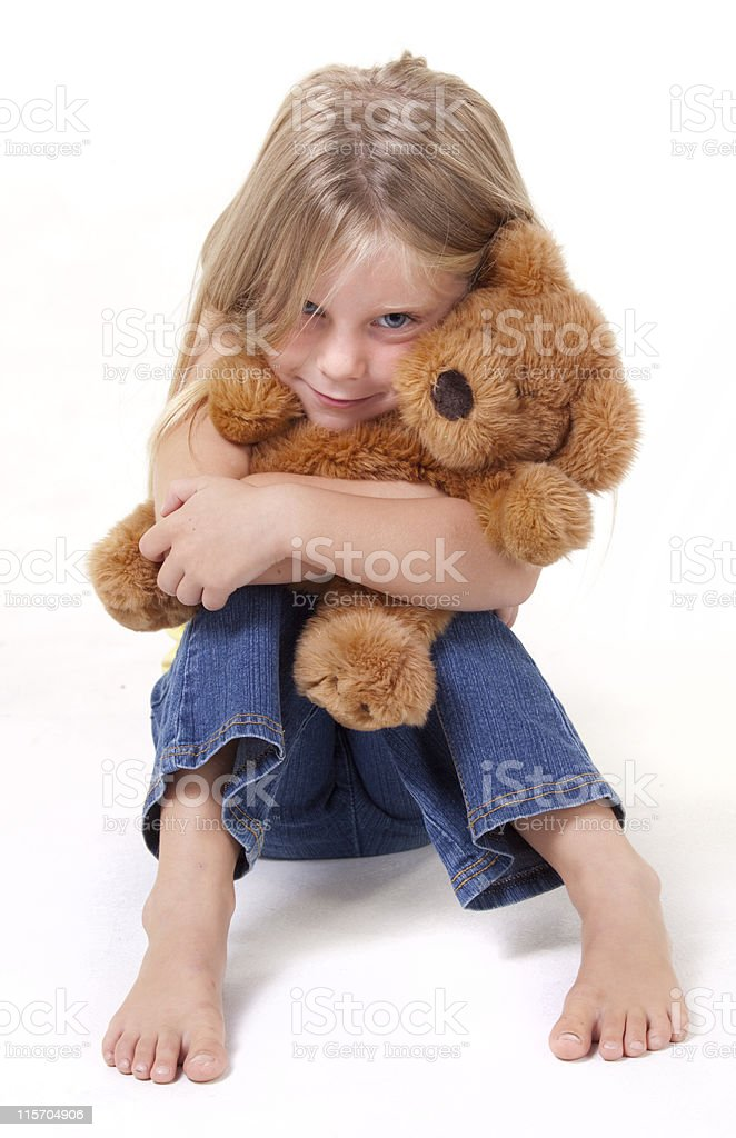Cute girl and bear royalty-free stock photo