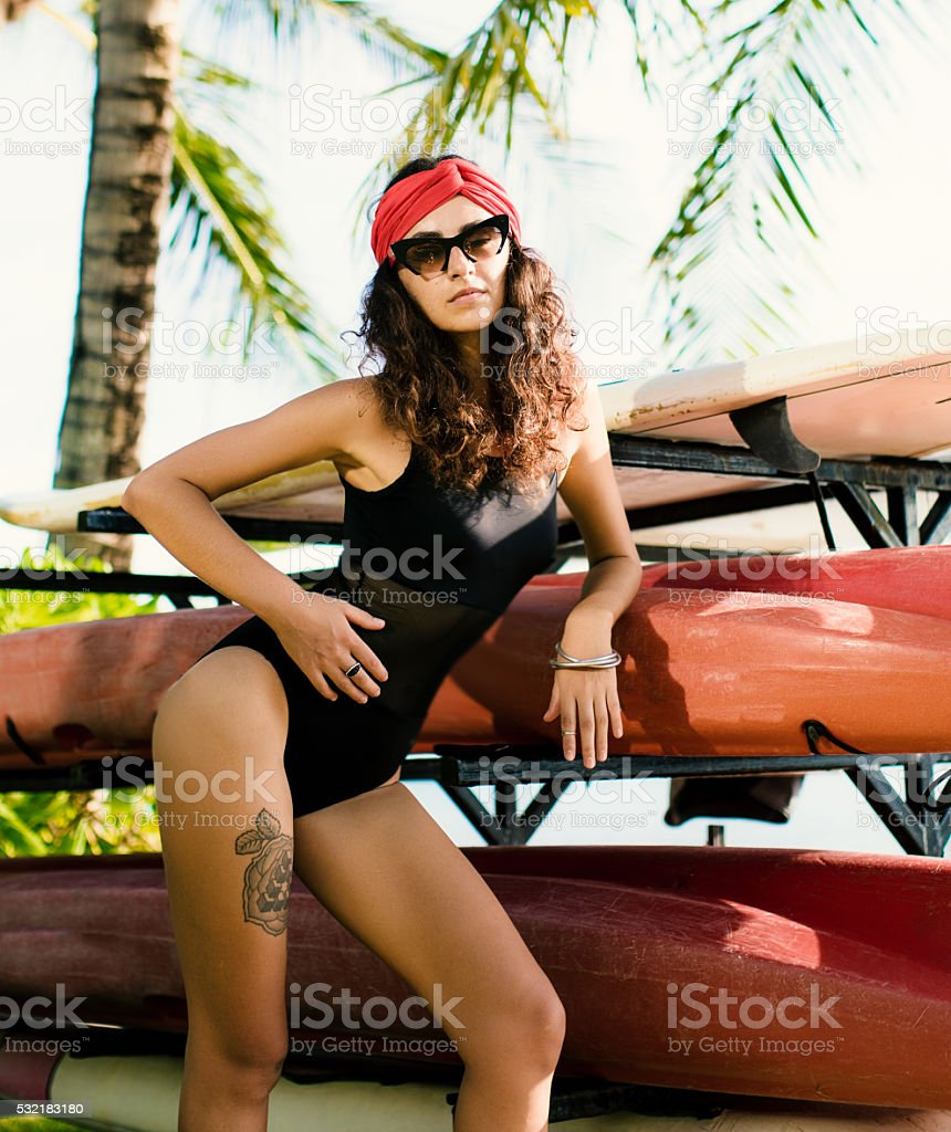 Cute Girl and surf board stock photo