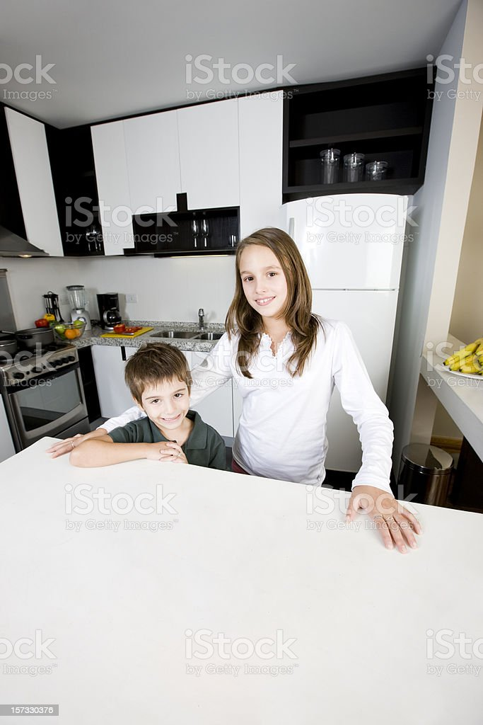 Cute girl and young brother royalty-free stock photo