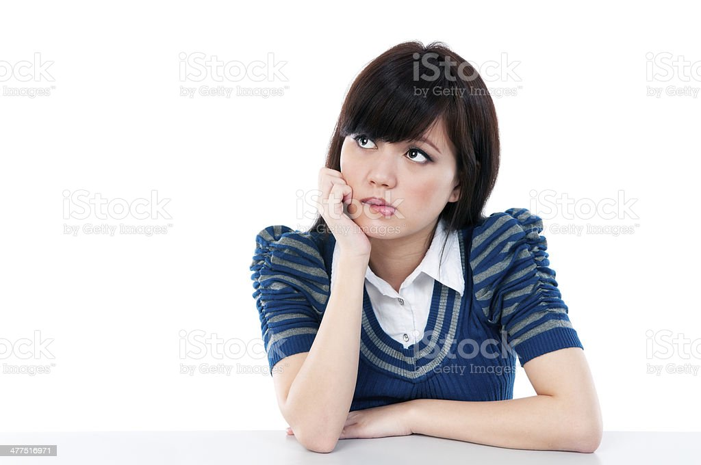 Cute Girl Biting Her Lips royalty-free stock photo