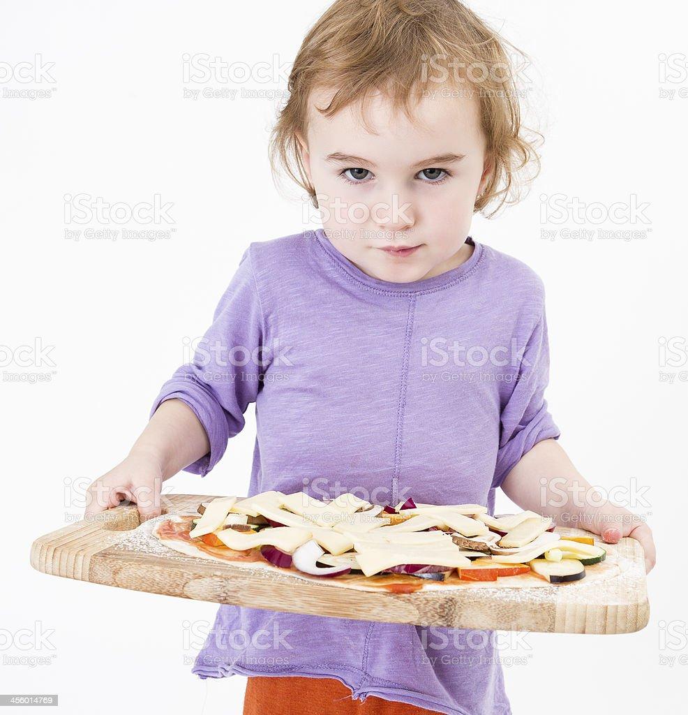 cute girl carrying fresh pizza stock photo