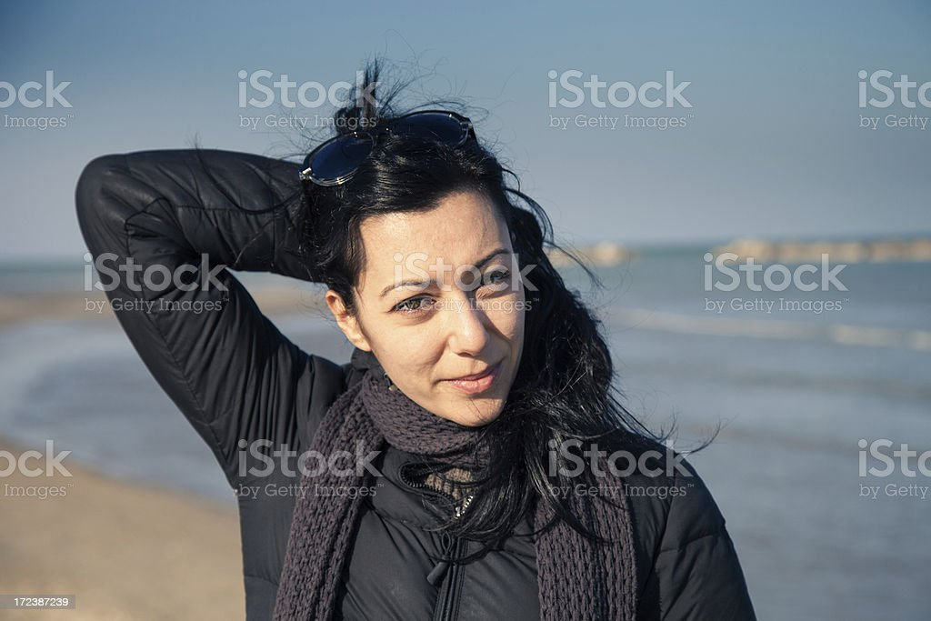 Cute girl happy smile on the beach royalty-free stock photo