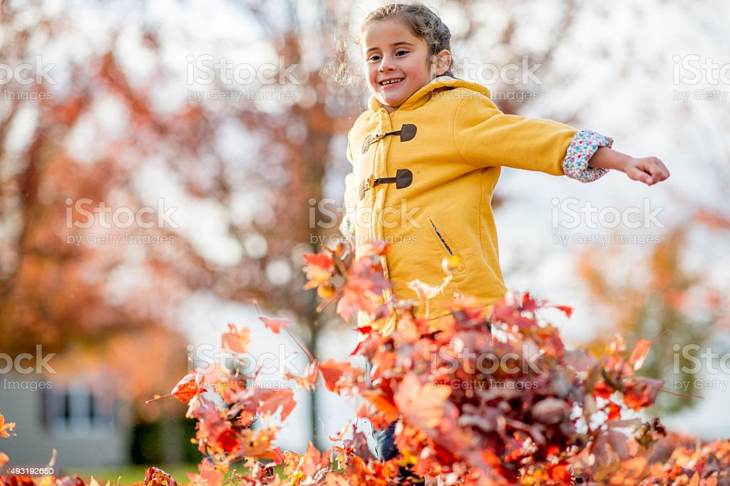 Cute Girl Having Fun Running Through the Leaves stock photo