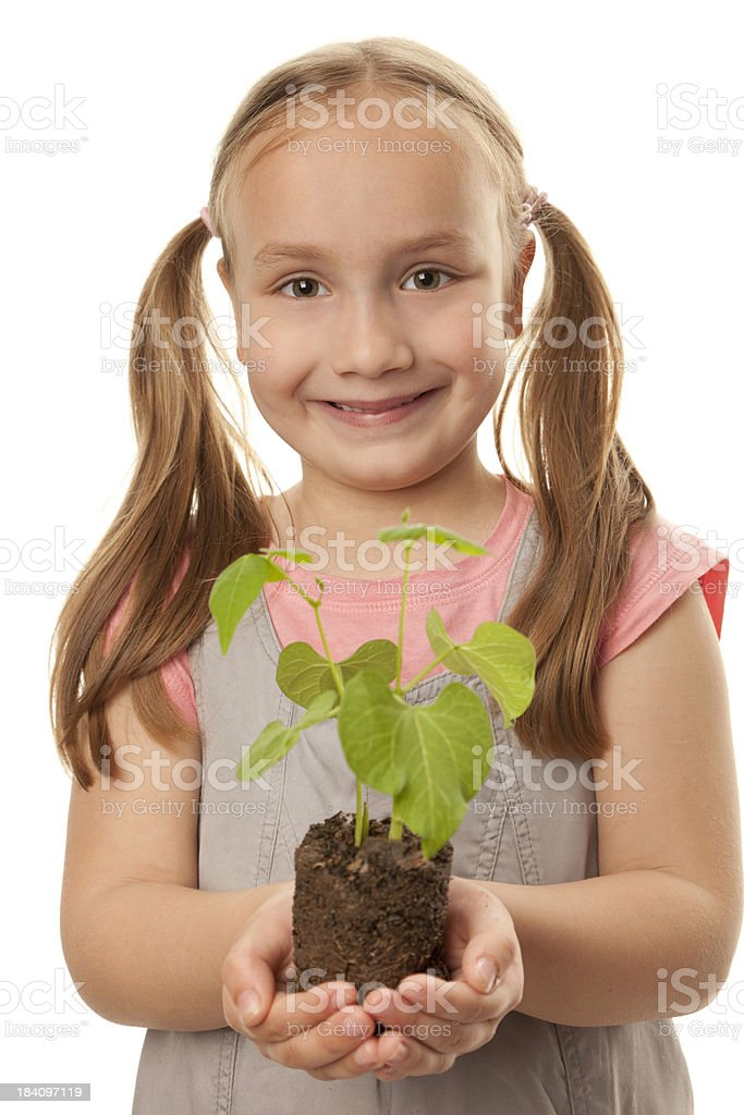 Cute girl holding a young plant in her hands royalty-free stock photo
