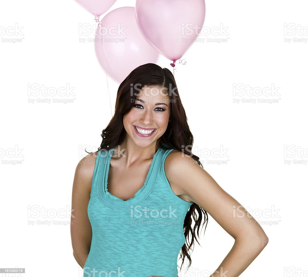 Cute girl holding balloons royalty-free stock photo