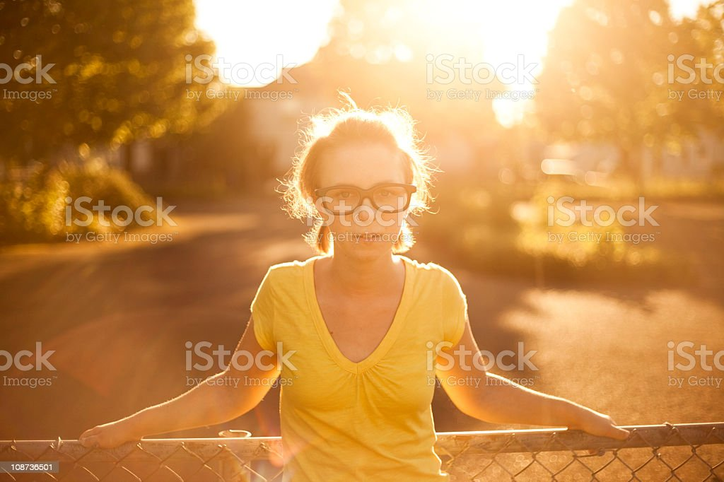 Cute girl in empty lot royalty-free stock photo
