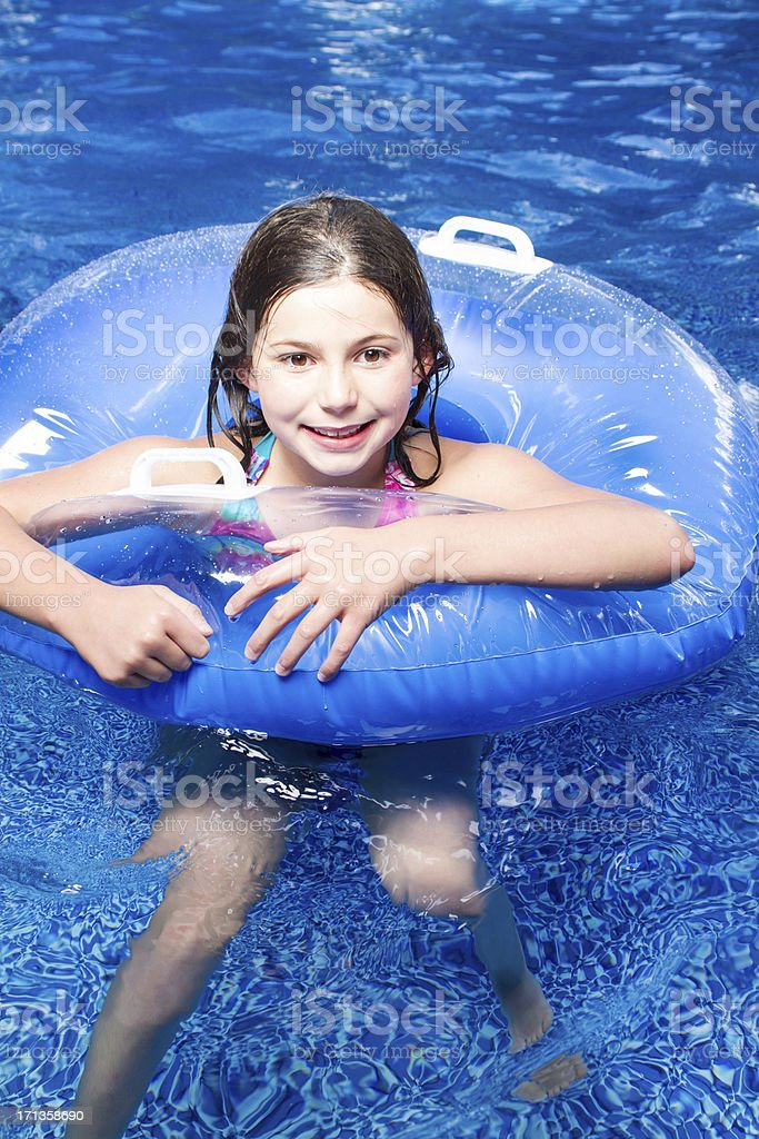 Cute Girl in Intertube on Water royalty-free stock photo
