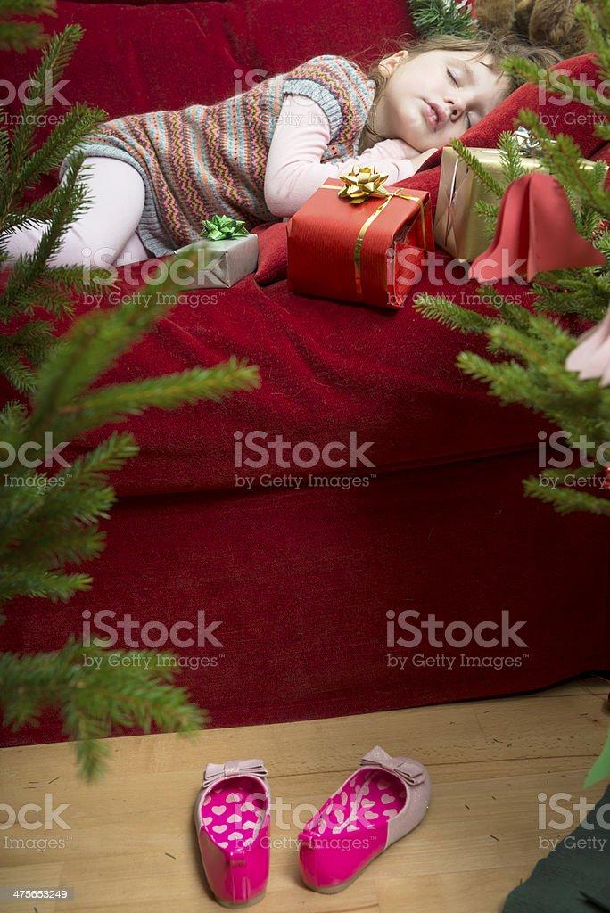 Cute Girl in Pink Sleeping, Christmas, Europe royalty-free stock photo