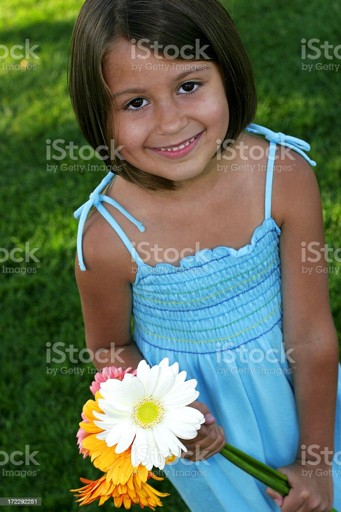 cute girl in summer with flowers royalty-free stock photo