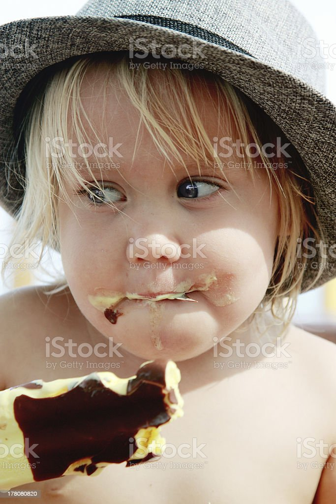 cute girl in the hat stock photo