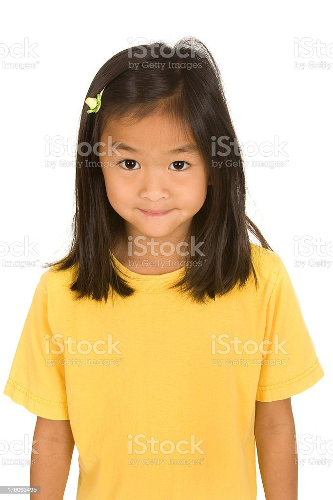 Cute girl in yellow tshirt royalty-free stock photo