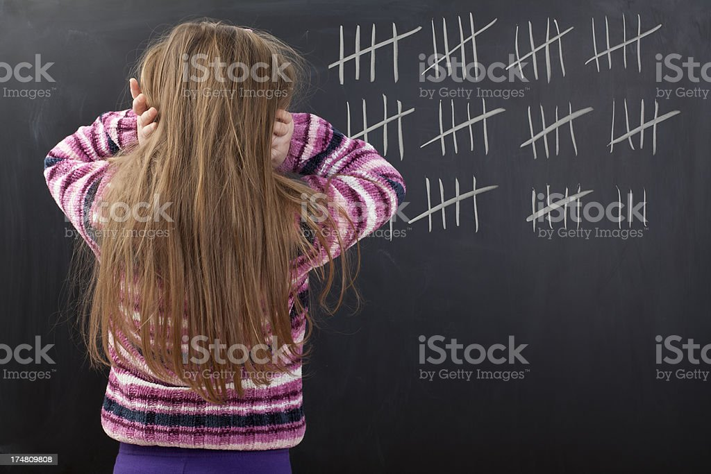 Cute girl is counting trouble days at home royalty-free stock photo