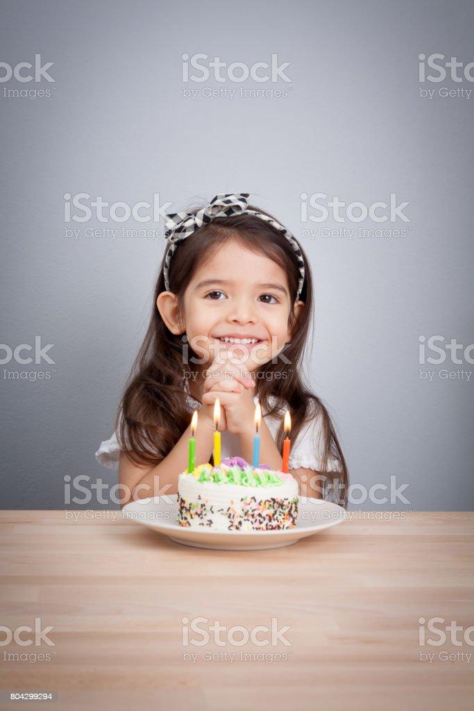 cute girl make a wish on birthday. Happy Birthday background....