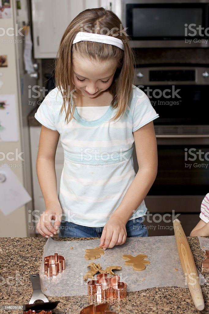 Cute Girl Making Cookies royalty-free stock photo