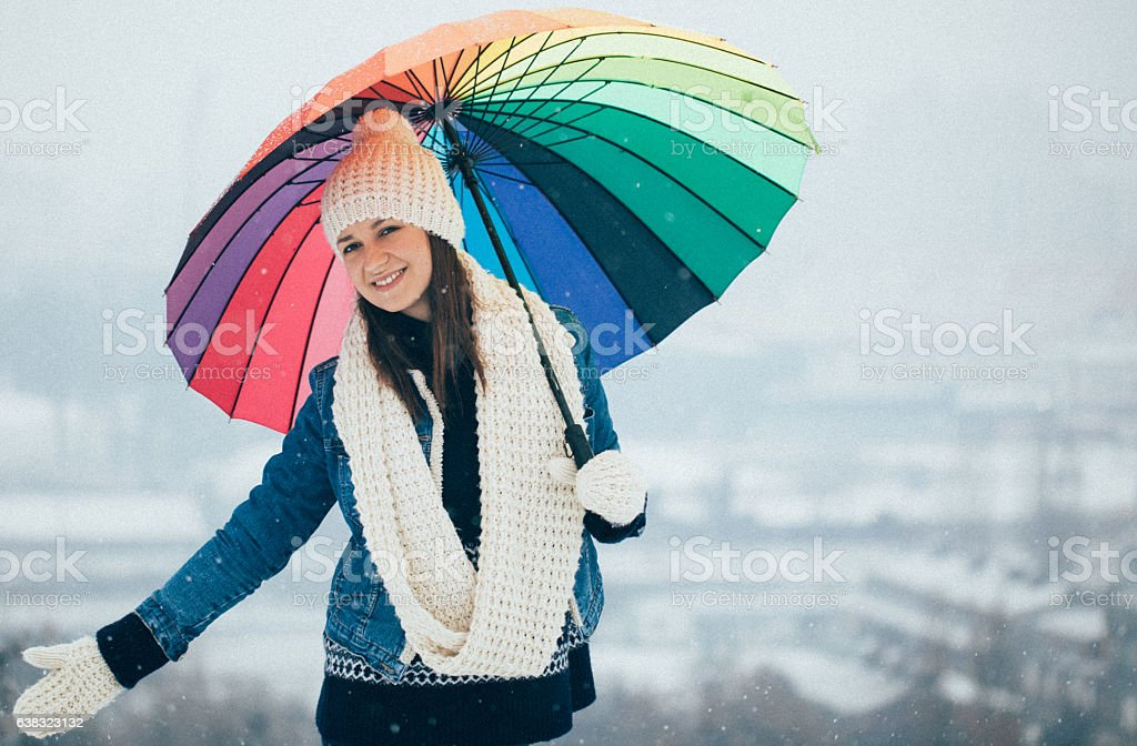 Cute girl on winter day stock photo