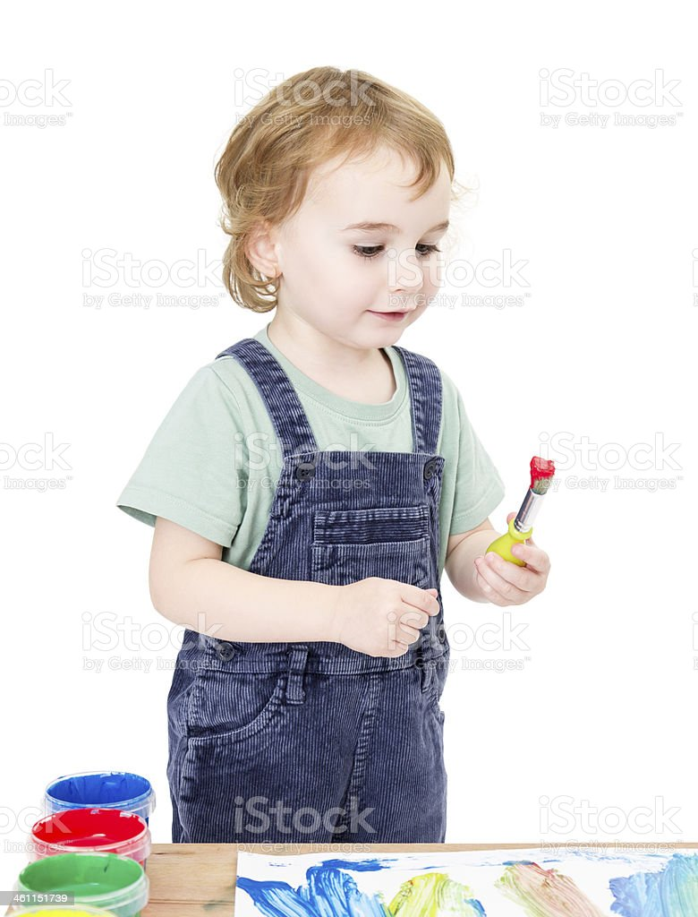 cute girl painting. isolated on white background stock photo