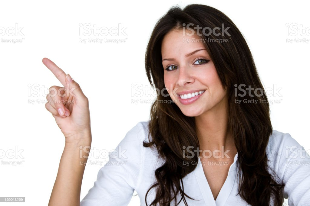 Cute girl pointing to copy space royalty-free stock photo