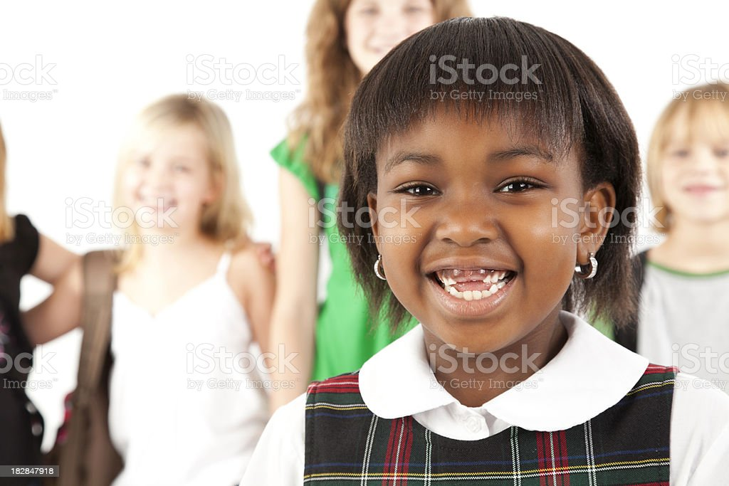 Cute Girl Ready For School With Her Class royalty-free stock photo