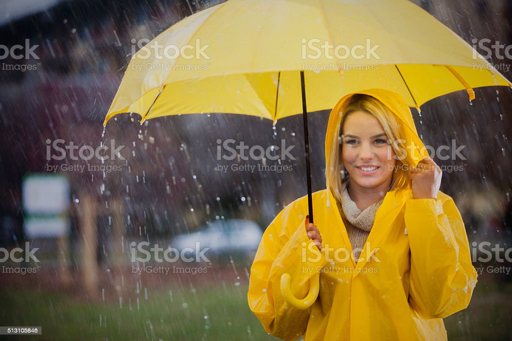 Cute girl ready for the rain! stock photo