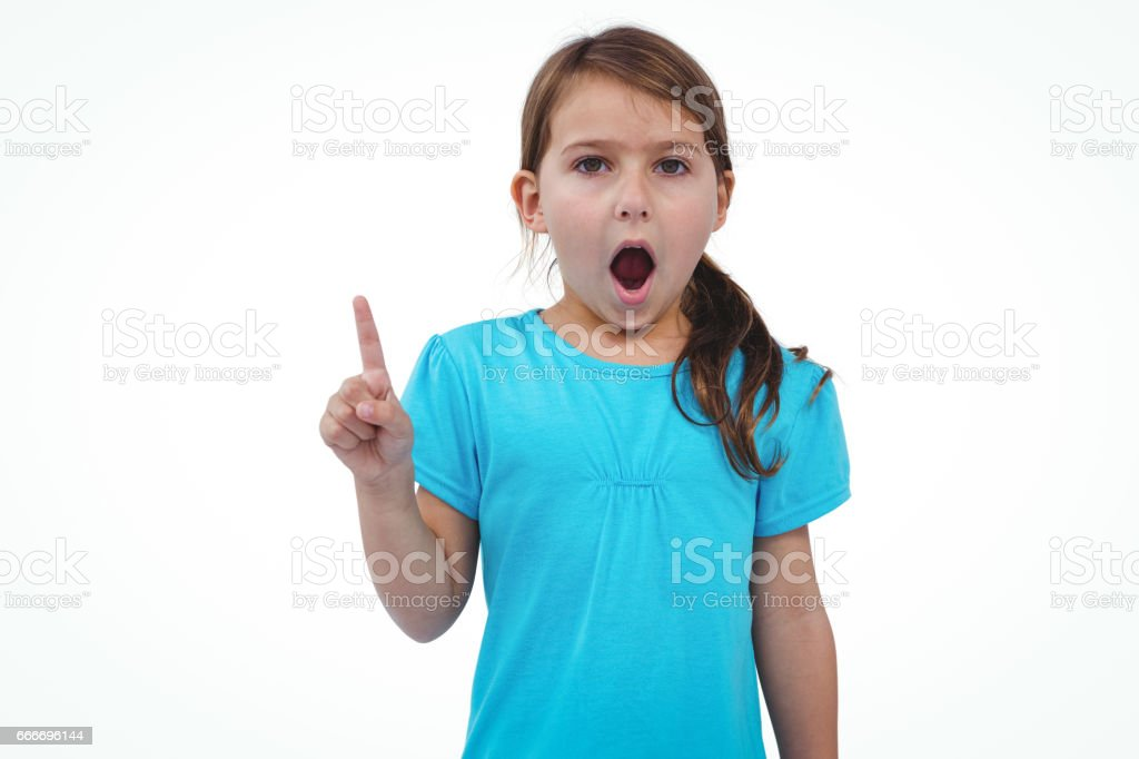 Cute girl shaking finger saying no to the camera stock photo