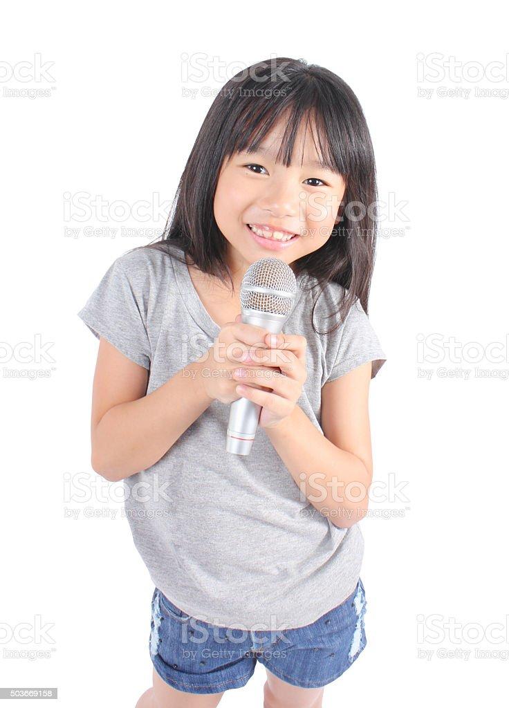 Süßes Mädchen singen Lizenzfreies stock-foto