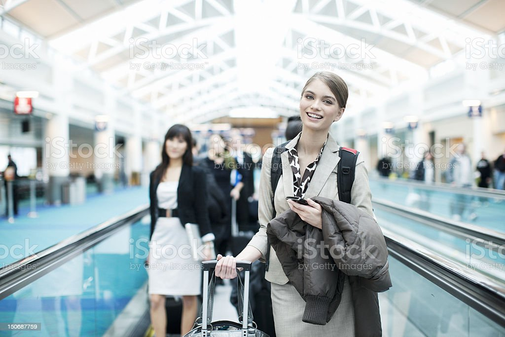 Cute Girl Walking in Airport royalty-free stock photo