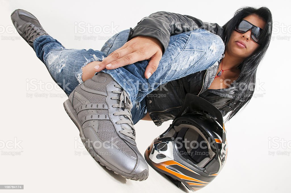 cute girl wearing a black leather jacket motocross royalty-free stock photo