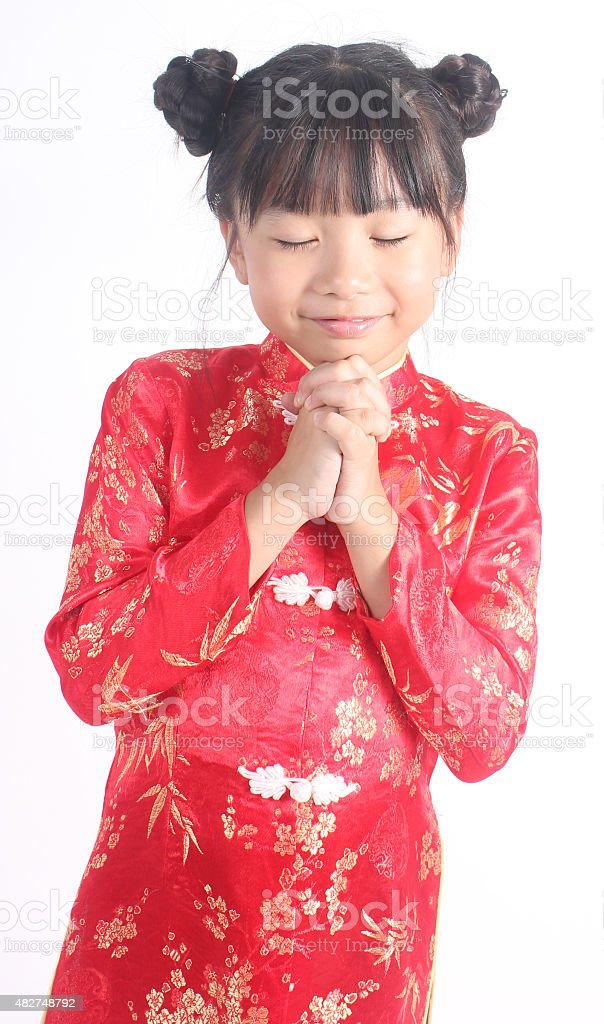 Süßes Mädchen mit Roter Chinesischer suit Lizenzfreies stock-foto
