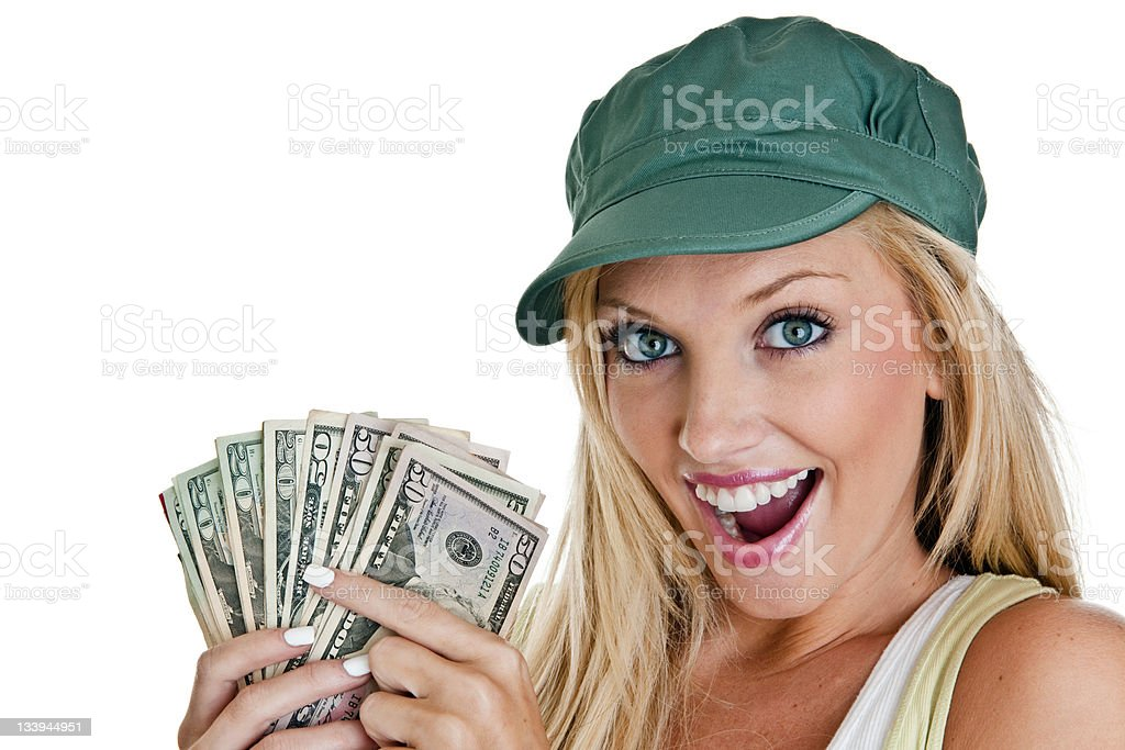 Cute girl with a handful of money royalty-free stock photo